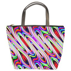 Multi Color Wave Abstract Pattern Bucket Bags