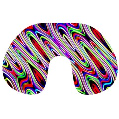 Multi Color Wave Abstract Pattern Travel Neck Pillows by Simbadda