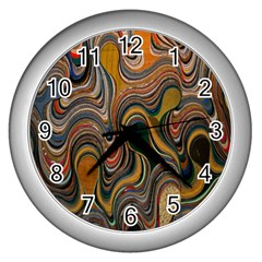 Swirl Colour Design Color Texture Wall Clocks (silver)  by Simbadda