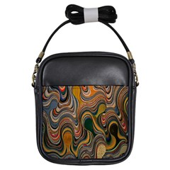 Swirl Colour Design Color Texture Girls Sling Bags