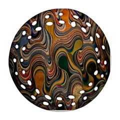 Swirl Colour Design Color Texture Ornament (round Filigree)
