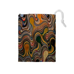 Swirl Colour Design Color Texture Drawstring Pouches (medium)  by Simbadda