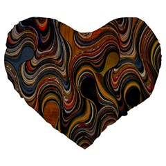 Swirl Colour Design Color Texture Large 19  Premium Flano Heart Shape Cushions by Simbadda