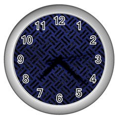 Woven2 Black Marble & Blue Leather (r) Wall Clock (silver) by trendistuff