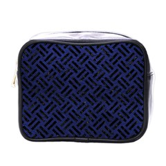 Woven2 Black Marble & Blue Leather (r) Mini Toiletries Bag (one Side) by trendistuff
