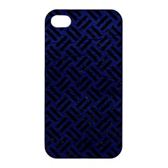 Woven2 Black Marble & Blue Leather (r) Apple Iphone 4/4s Hardshell Case by trendistuff