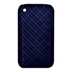 Woven2 Black Marble & Blue Leather (r) Apple Iphone 3g/3gs Hardshell Case (pc+silicone) by trendistuff