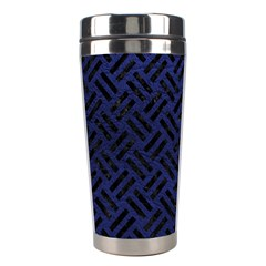 Woven2 Black Marble & Blue Leather (r) Stainless Steel Travel Tumbler by trendistuff