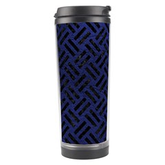 Woven2 Black Marble & Blue Leather (r) Travel Tumbler by trendistuff