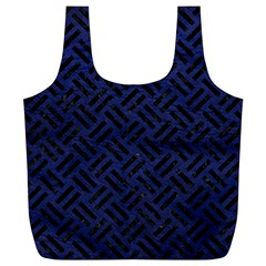 Woven2 Black Marble & Blue Leather (r) Full Print Recycle Bag (xl) by trendistuff