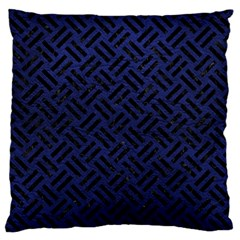 Woven2 Black Marble & Blue Leather (r) Large Flano Cushion Case (one Side) by trendistuff