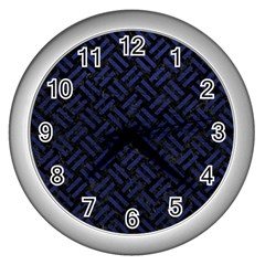 Woven2 Black Marble & Blue Leather Wall Clock (silver) by trendistuff