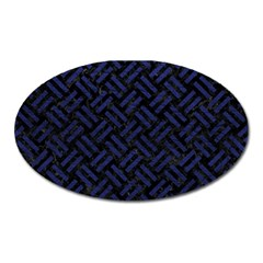 Woven2 Black Marble & Blue Leather Magnet (oval) by trendistuff