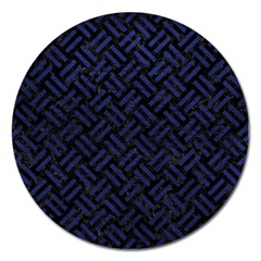 Woven2 Black Marble & Blue Leather Magnet 5  (round) by trendistuff