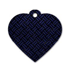 Woven2 Black Marble & Blue Leather Dog Tag Heart (one Side) by trendistuff