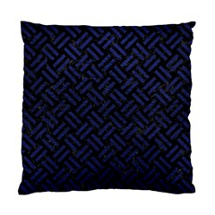 Woven2 Black Marble & Blue Leather Standard Cushion Case (two Sides) by trendistuff