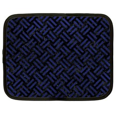 Woven2 Black Marble & Blue Leather Netbook Case (xxl) by trendistuff