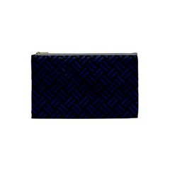Woven2 Black Marble & Blue Leather Cosmetic Bag (small) by trendistuff