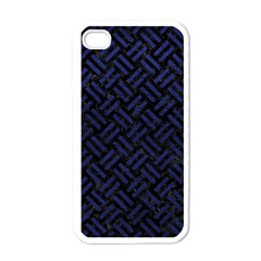 Woven2 Black Marble & Blue Leather Apple Iphone 4 Case (white) by trendistuff