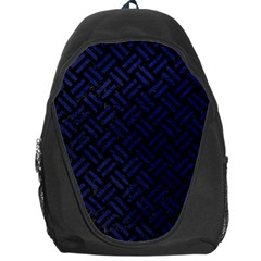 Woven2 Black Marble & Blue Leather Backpack Bag by trendistuff