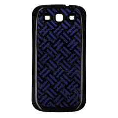Woven2 Black Marble & Blue Leather Samsung Galaxy S3 Back Case (black) by trendistuff