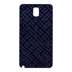 Woven2 Black Marble & Blue Leather Samsung Galaxy Note 3 N9005 Hardshell Back Case by trendistuff