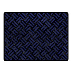 Woven2 Black Marble & Blue Leather Double Sided Fleece Blanket (small) by trendistuff