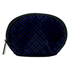 Woven2 Black Marble & Blue Leather Accessory Pouch (medium) by trendistuff