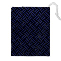 Woven2 Black Marble & Blue Leather Drawstring Pouch (xxl) by trendistuff