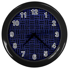 Woven1 Black Marble & Blue Leather (r) Wall Clock (black) by trendistuff