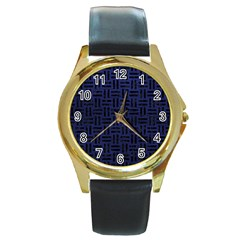 Woven1 Black Marble & Blue Leather (r) Round Gold Metal Watch by trendistuff