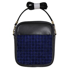 Woven1 Black Marble & Blue Leather (r) Girls Sling Bag by trendistuff