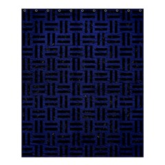 Woven1 Black Marble & Blue Leather (r) Shower Curtain 60  X 72  (medium) by trendistuff