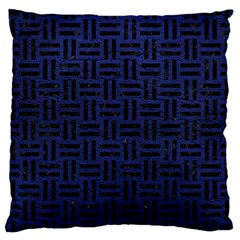 Woven1 Black Marble & Blue Leather (r) Large Cushion Case (one Side) by trendistuff