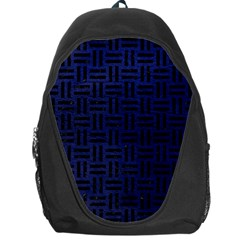 Woven1 Black Marble & Blue Leather (r) Backpack Bag by trendistuff