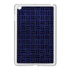Woven1 Black Marble & Blue Leather (r) Apple Ipad Mini Case (white) by trendistuff