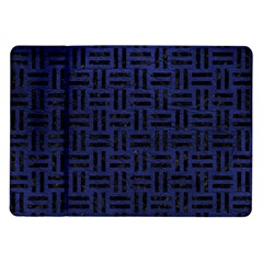 Woven1 Black Marble & Blue Leather (r) Samsung Galaxy Tab 10 1  P7500 Flip Case by trendistuff