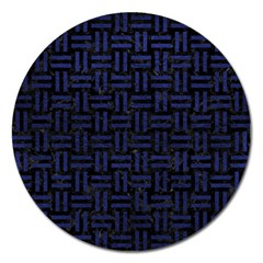 Woven1 Black Marble & Blue Leather Magnet 5  (round) by trendistuff