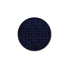 Woven1 Black Marble & Blue Leather Golf Ball Marker by trendistuff
