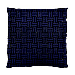 Woven1 Black Marble & Blue Leather Standard Cushion Case (one Side) by trendistuff