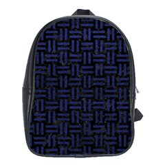 Woven1 Black Marble & Blue Leather School Bag (large) by trendistuff