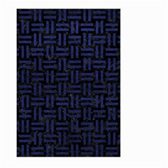 Woven1 Black Marble & Blue Leather Large Garden Flag (two Sides) by trendistuff