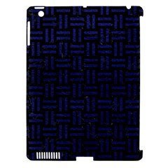 Woven1 Black Marble & Blue Leather Apple Ipad 3/4 Hardshell Case (compatible With Smart Cover) by trendistuff