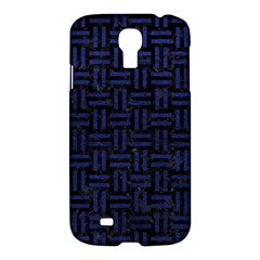 Woven1 Black Marble & Blue Leather Samsung Galaxy S4 I9500/i9505 Hardshell Case by trendistuff