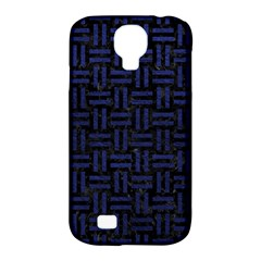 Woven1 Black Marble & Blue Leather Samsung Galaxy S4 Classic Hardshell Case (pc+silicone) by trendistuff