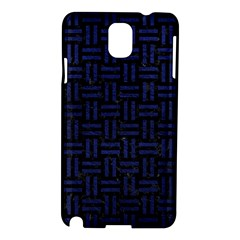 Woven1 Black Marble & Blue Leather Samsung Galaxy Note 3 N9005 Hardshell Case by trendistuff
