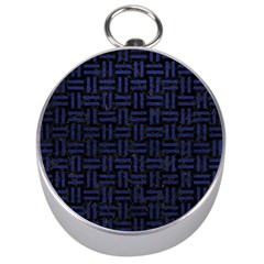 Woven1 Black Marble & Blue Leather Silver Compass by trendistuff