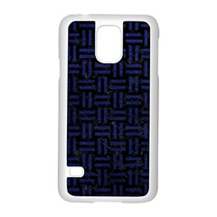 Woven1 Black Marble & Blue Leather Samsung Galaxy S5 Case (white) by trendistuff
