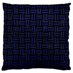 Woven1 Black Marble & Blue Leather Standard Flano Cushion Case (one Side) by trendistuff