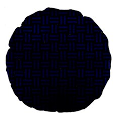 Woven1 Black Marble & Blue Leather Large 18  Premium Flano Round Cushion  by trendistuff